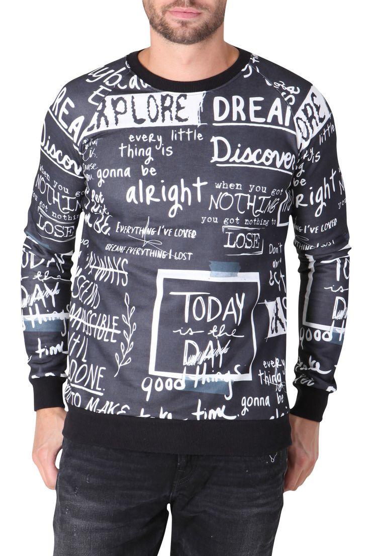 Zwarte wintertrui voor heren met wit krijt opdruk verspreid over de hele trui
