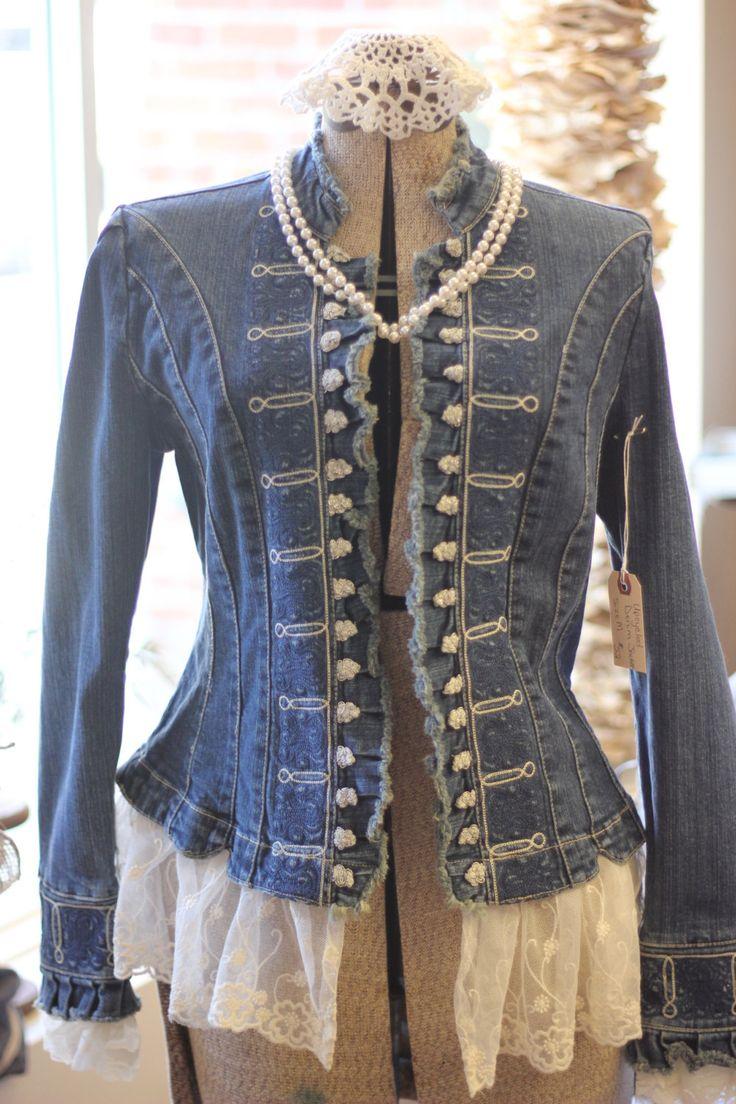 Damen Jeansjacke Jean mit Lace Upcycled von SimplyCherishedChild