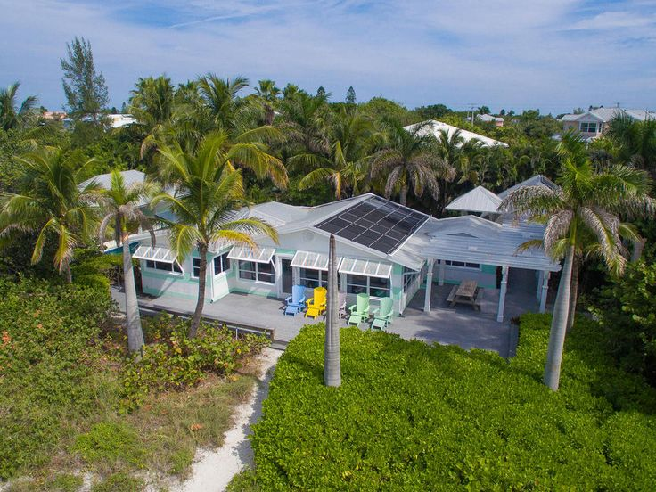 A bird's eye view of the spectacular Limefish coastal villa, located less than a minute's walk away from the white sandy beaches of Anna Maria Island, Florida.