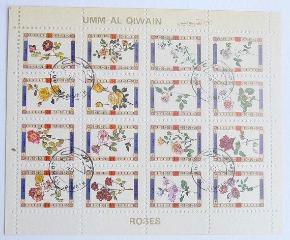 Block of Stamps Roses Umm al Quwain United Arab by VanyssaDesign
