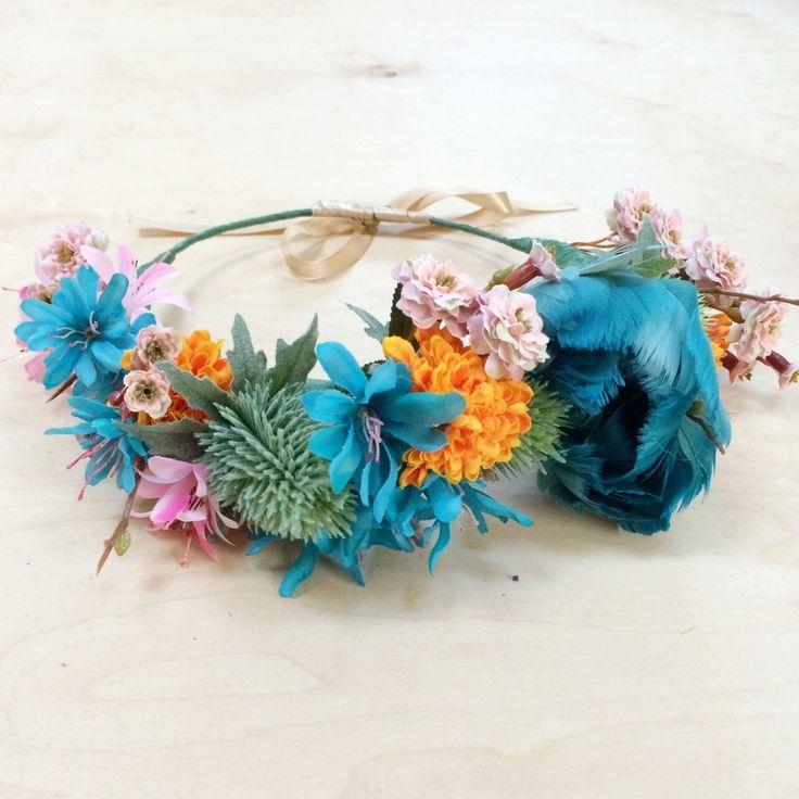 ONE OF A KIND TEAL/BLUE/ORANGE FLOWER CROWN (TD-ADULT) | Kenzie Jaws