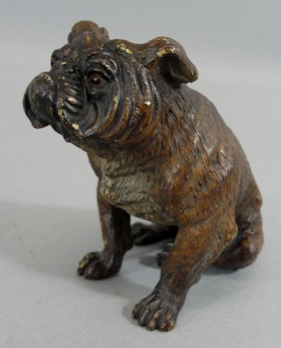 Antique-Miniature-Austrian-Bronze-English-BULLDOG-Cold-Painted-Sculpture-NR