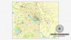 Richmond Virginia Us Printable Vector Street City Plan Map Full