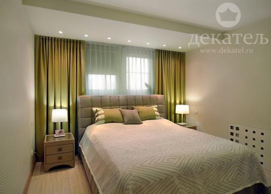 Шторы в современную спальню 2017 | Дизайн штор для современной спальни в Новосибирске | Зеленые шторы | Декатель Новосибирск
