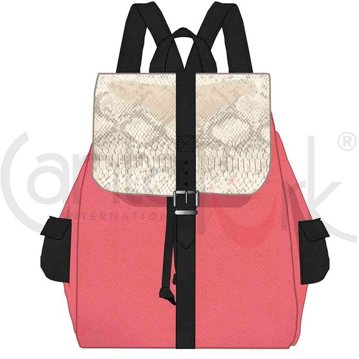Backpack inspired in the jungle street with wild White snake and soft pink PU, constract of textures