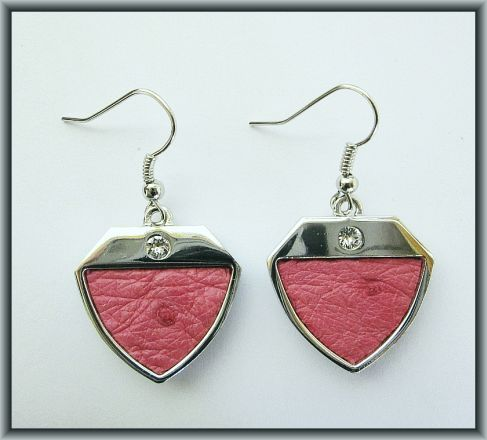 Ostrich leather crystal earrings - Pink OE14