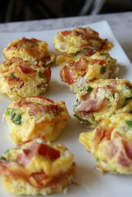 Egg, Prosciutto & Tomato Muffins - (Pic is mini muffins) For low carb just sub the 1 T milk that recipe calls for. Comments warn that this bakes in about 15 minutes, not in 30 minutes, like recipe states