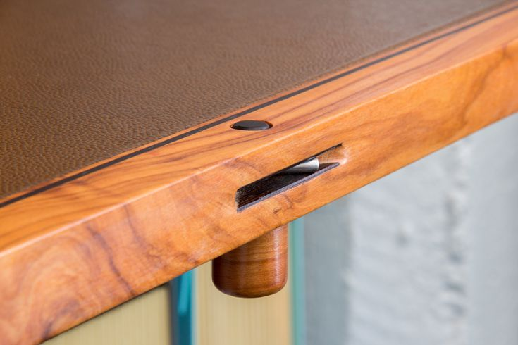 Foldaway Desk. Olive wood with wenge inlays, dovetails, brown leather & retro upholstery