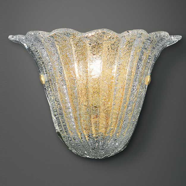 Arandela D145000  Descrição: arandela cod. D145000. Em vidro moldado transparente com detalhes ouro e suporte em metal ouro.  Medidas: 26 x 13 x H:20cm  Cor: transparente  Lâmpadas: 1x60W Comum E27. Consumo: 60W  Design by: Studio Italamp