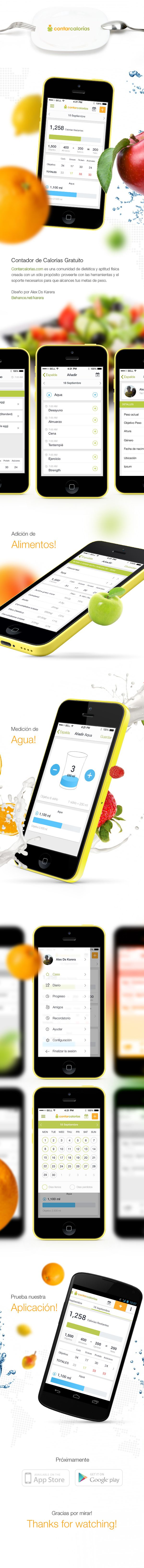 Contar calorias. Fitness application by Alex Ds Karera, via Behance