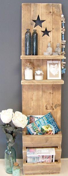 Staand wanddecoratiebord met sterren van oud steigerhout voorraad artikel
