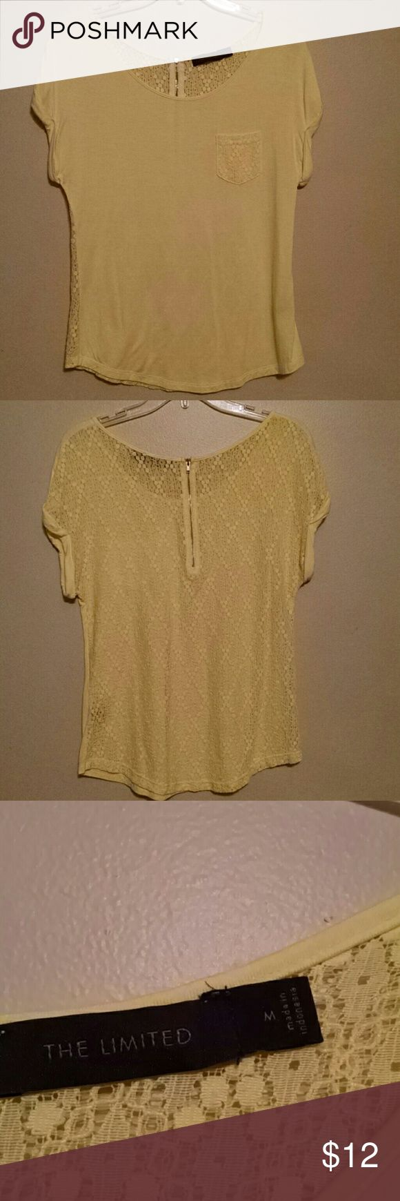🔷final sale🔷Yellow short sleeve top Yellow short sleeve top from The Limited, pocket on the front is lace, the entire back is lace with a short zipper. The Limited Tops Blouses