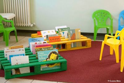 Garden reading area. Keep pallet outside and slot books in when children outside next to seating area