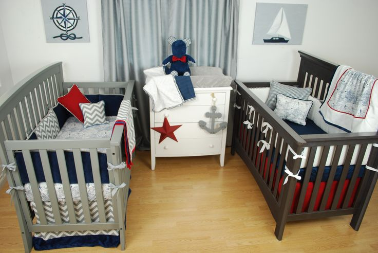 Red white and blue baby nursery with a transportation for Nautical nursery fabric
