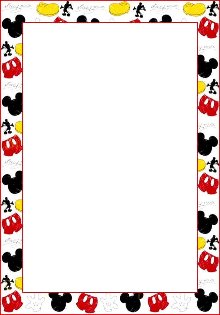 Marcos, Invitaciones, Tarjetas o Etiquetas de Mickey Mouse para Imprimir Gratis.