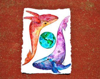Aquarel Orca en meisje schilderij  Print door TheColorfulCatStudio