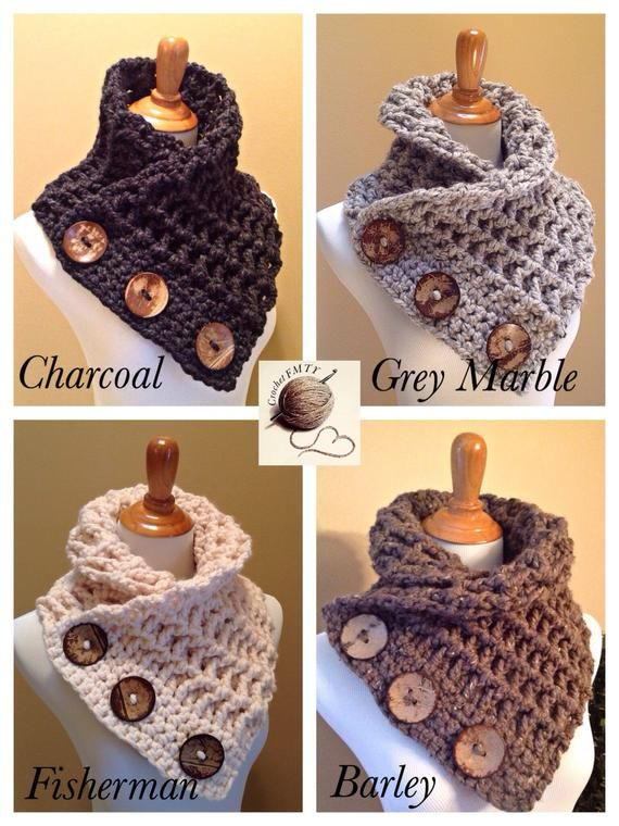 THE COWTOWN COWL Versatile Scarf, Neck Warmer, 3 Large Coconut Buttons, Earth Tones. Very Warm and Soft