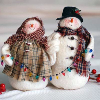Orders placed after Dec. 12th will not ship until after Christmas.    A loving snowpair, all set to hang their Christmas lights. These snowmen are