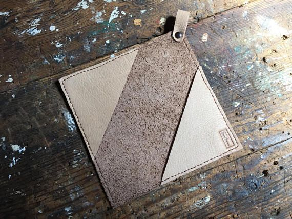 Hand-stitched leather pot holder/sleeve/trivet/oven mitt