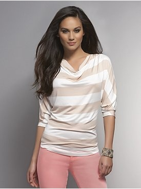 Stripe Cowl-Neck Top with Back Zipper
