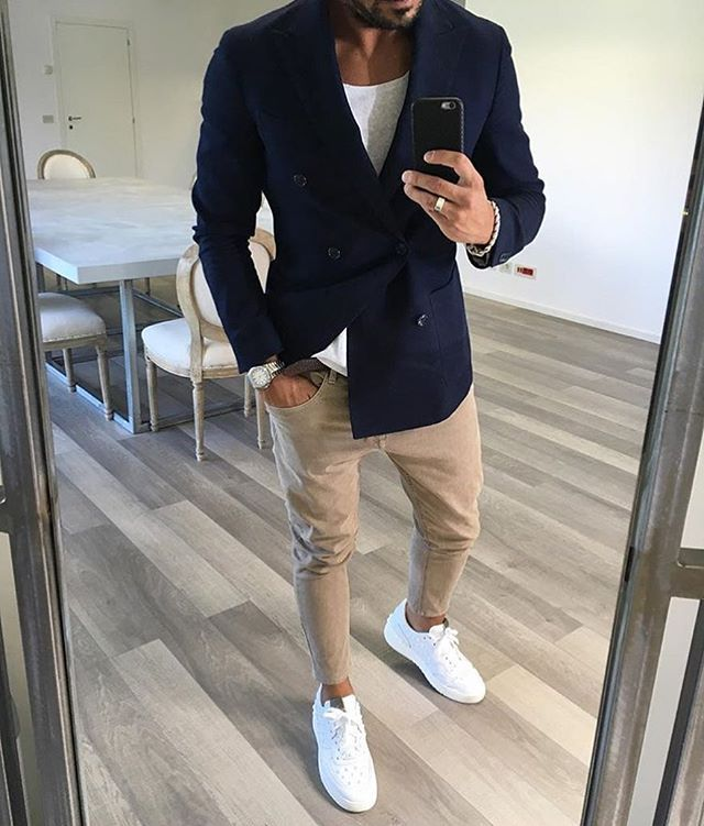 Love the trousers and white sneakers combo