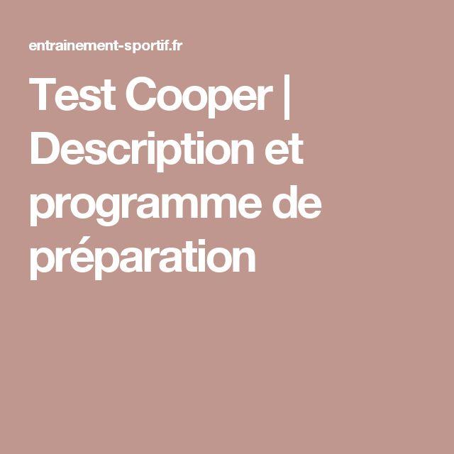 Test Cooper | Description et programme de préparation