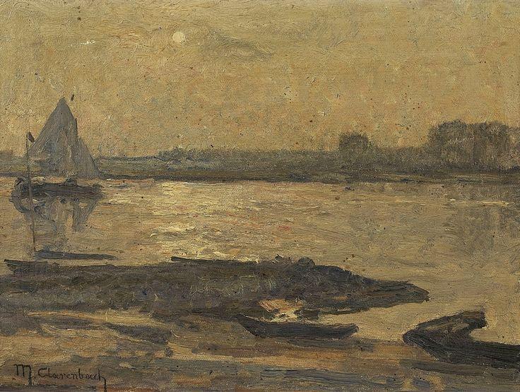 Max Clarenbach, NIEDERRHEINISCHE LANDSCHAFT MIT SEGELBOOT, Auktion 985 Gemälde des 15. - 19. Jh., Lot 78