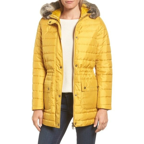 Women's Barbour Ascott Water Resistant Quilted Jacket (6.085 CZK) ❤ liked on Polyvore featuring outerwear, jackets, harvest gold, hooded jacket, faux fur trim jacket, gold jacket, barbour jacket and water resistant jacket