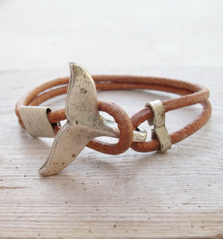 Nautical Whale Tail Bracelet, Leather and Metal Beach Jewelry , Unisex Gift for Woman or Man