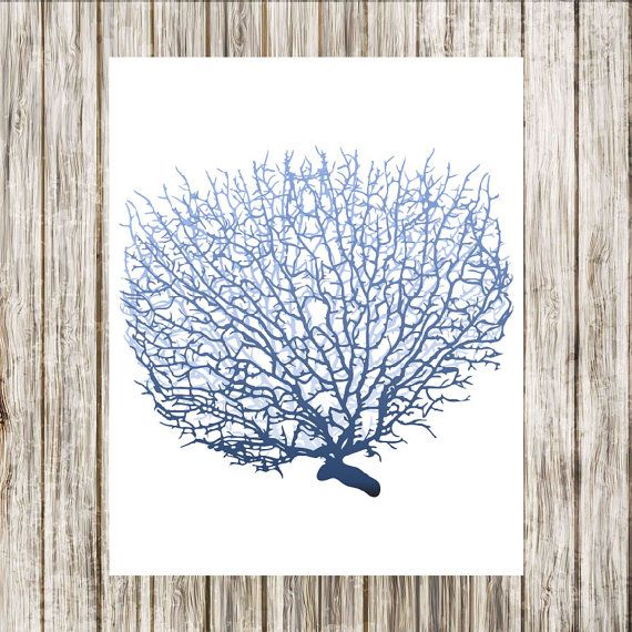 Sealife  Seafan 3 in Graduated Indigo  Wall Art by paper4download