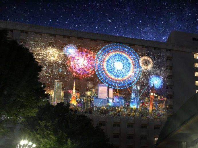 【日本初】プリンスホテルに投影する「プロジェクションマッピング高輪花火大会」