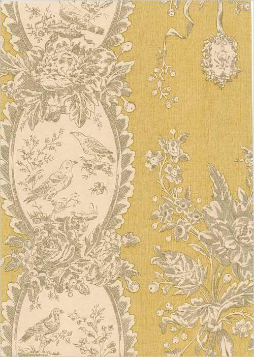 Les Oiseaux Wallpaper Gold and cream bird scene wallpaper