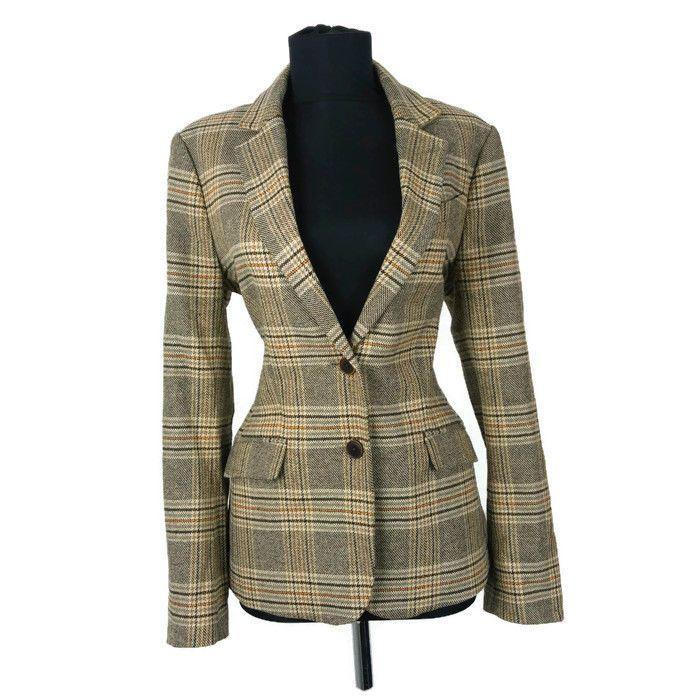 Ladies Tommy Hilfiger Blazer Jacket size 12 UK Business Formal Plaid Cotton Wool