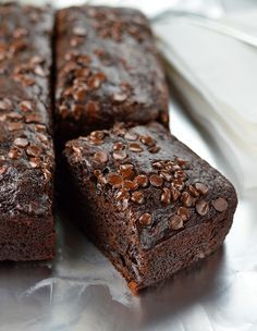 Double chocolate banana cake is made healthier with no oil or butter but you would never know it!