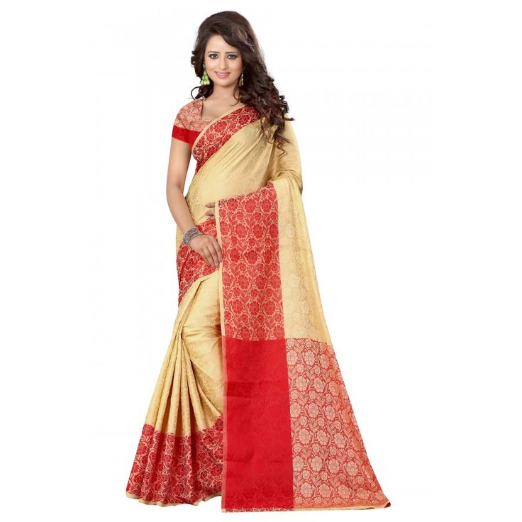 Beautiful Red Color Cotton Silk Saree at just Rs.1050/- on www.vendorvilla.com. Cash on Delivery, Easy Returns, Lowest Price.