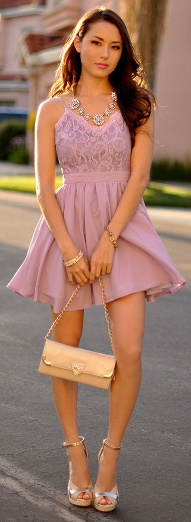 Missguided Lilac Party Strappy Lacey Top Mini Skater Dress by Hapa Time