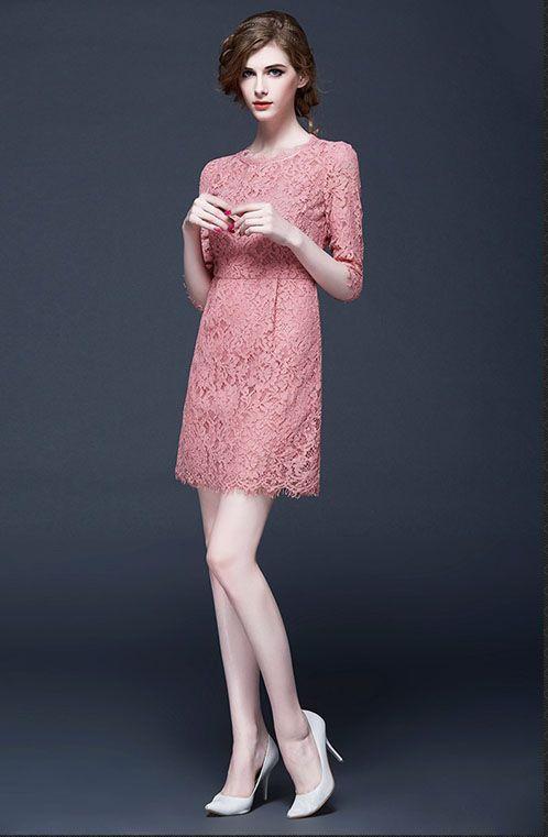 新品七分袖スリーブドレスピンク気質透かし彫りレースワンピース - Hassyon