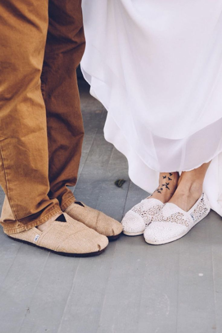 Make your big day memorable and meaningful in crochet and burlap TOMS Wedding Shoes. Photo by: Rosemary and Thyme