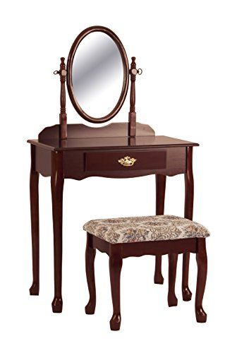 Vanity and stool set Rubber wood construction Functional drawer