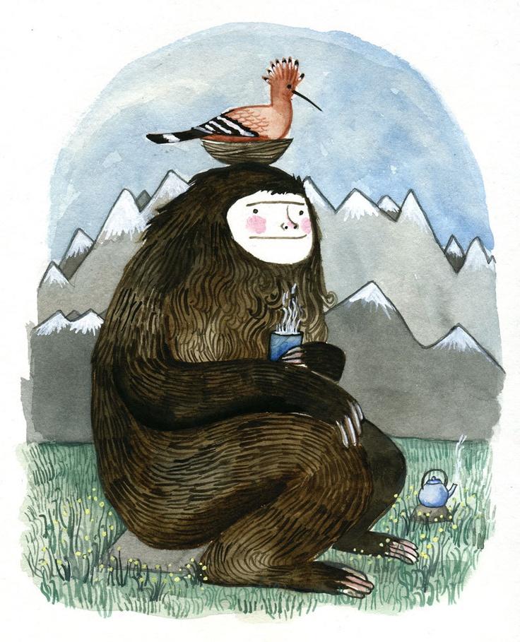 Tea Time, Teas Time, Illustration, Yeti, Cups Of Teas, Drinks Teas, Prints, Diana Sudyka, Portland Oregon