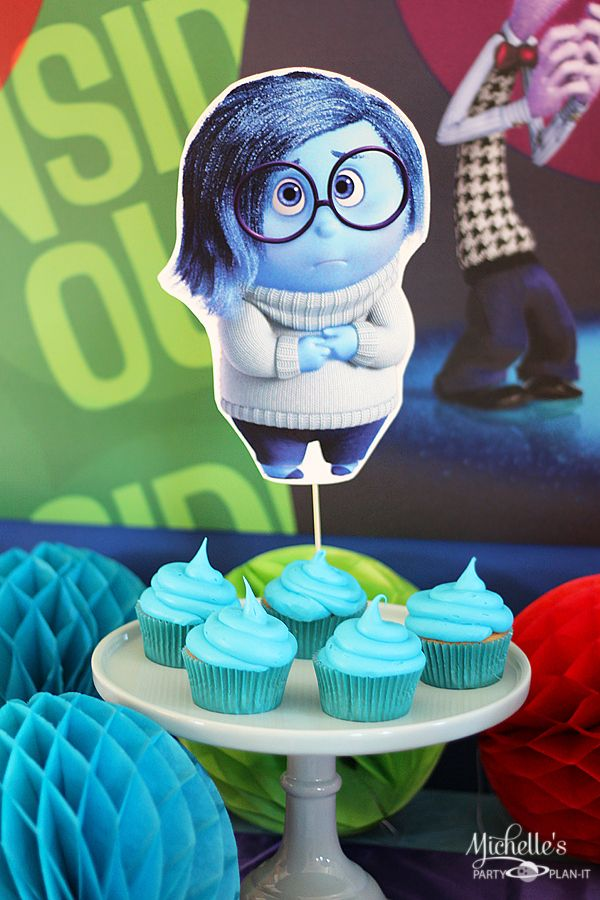 Sadness - Inside Out Party Ideas | Party Decor and Desserts - Michelle's Party Plan-It DIY | Manualidades | Party planning | Birthday | Ideas | Decoration | Recipes | Table