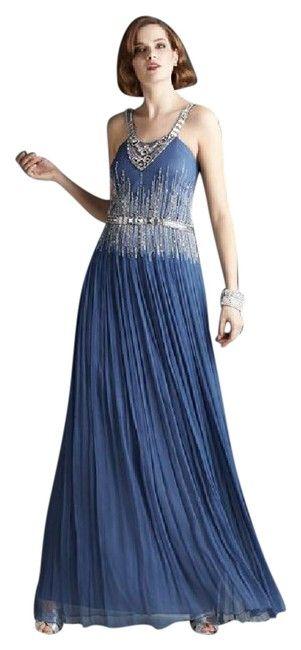 Mignon Blue Silk Pleated Crystal Rhinestones Long Formal Dress Size 12 (L) - Tradesy