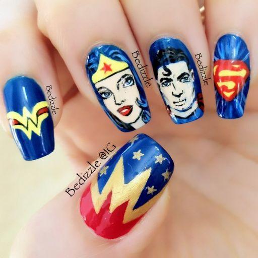 Wonder Woman and Superman nails...together at last! (bedizzle@1G)