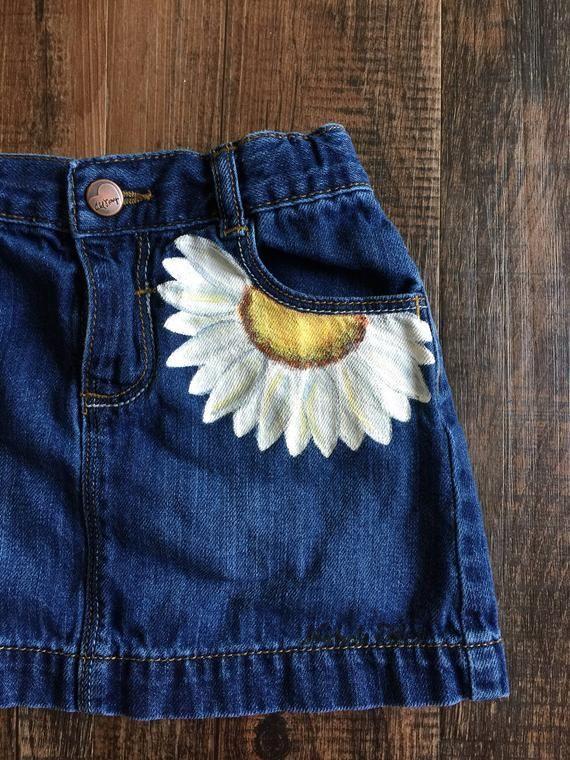 4T vieille marine jupe en jean, denim peint, jupe marguerite, vêtements peints …