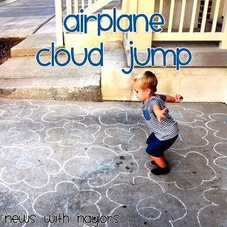 Airplane Theme for toddlers and preschoolers. Airplane Cloud Jump. Number Review activity.