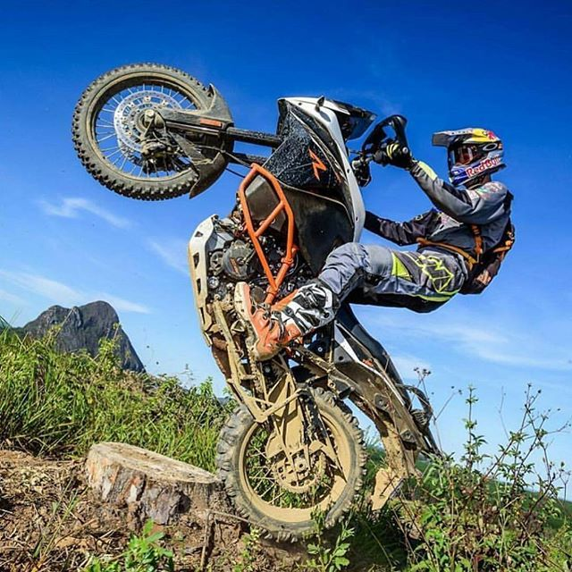 """Our buddy @birchynz """"testing"""" the #Touratech Suspension on his #KTM 1190 Adventure R. #MadeForAdventure"""