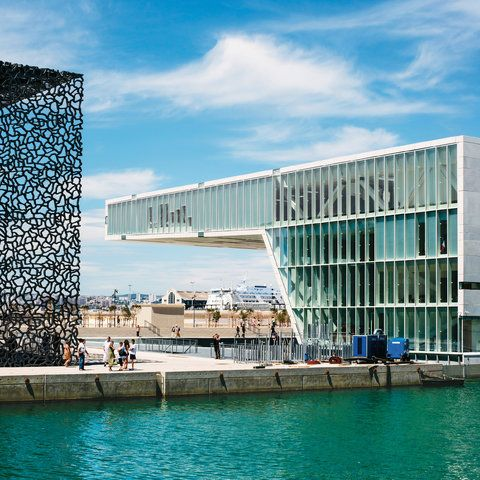 Marseille's once-abandoned J4 pier, the Museum of European and Mediterranean Civilizations and the Villa Méditerranée
