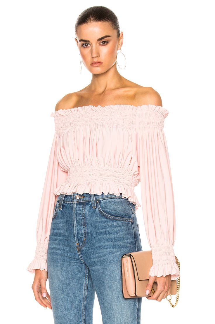 Image 1 of Norma Kamali Cropped Peasant Top in Blush