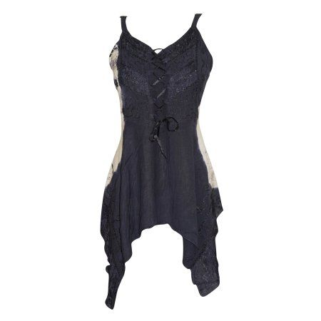 Mogul Womens Tank Top Tie-Dye Black Embroidered Front Laces Blouses   https://www.walmart.com/search/?grid=true&page=2&query=MOGUL+INTERIOR+TOP#searchProductResult