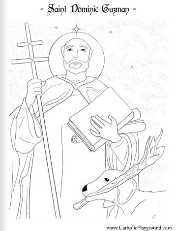 A coloring page for August 4th: Saint Dominic de Guzman - Catholic Playground